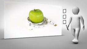 Clip of apple surrounded by measuring tape. On white background with animated figure ticking box stock illustration