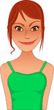 Clip art bitmap sassy sexy redhead woman in green top Stock Image
