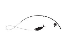 Clip art black fishing. On white background, vector illustration Stock Image