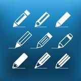Clip art blanco de los iconos del lápiz en fondo del color Imágenes de archivo libres de regalías