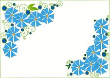 Clip art with blue flowers Royalty Free Stock Photo