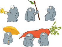 Clip art. About a blue rabbits. Cartoon Royalty Free Stock Photo