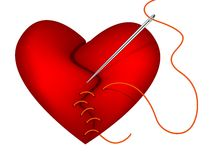 Clip-art of broken heart and needle. Clip-art of red broken heart sewing by needle and thread Royalty Free Stock Images