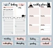 Clip art, colección de planificador diario, planificador semanal, lunes, martes, miércoles, jueves, viernes, domingo, sábado libre illustration