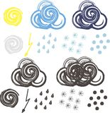 Clip-art for colorful and black-white weather icons Royalty Free Stock Photography