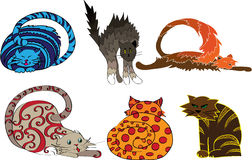Clip Art of colorful cats Stock Photo