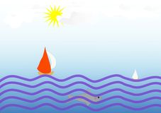 Clip art con un diseño de veleros en el mar stock de ilustración