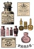 Clip art de las botellas de perfume del vintage ilustración del vector