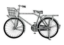 Clip art del dibujo de la mano de la bicicleta del vintage aislado en el bakgroun blanco libre illustration