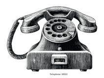 Clip art del drenaje de la mano del teléfono del vintage aislado en el backgroun blanco ilustración del vector