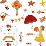 Clip art dibujado mano del jardín del otoño. stock de ilustración
