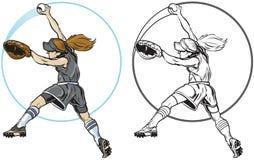 Clip art femenino del vector del cabeceo del jugador de softball Fotos de archivo libres de regalías