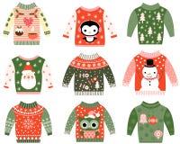 Clip art feo lindo del suéter de la Navidad Fotos de archivo libres de regalías