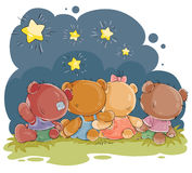 Clip art illustration for greeting card with teddy bears Royalty Free Stock Photo
