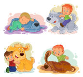 Clip art illustrations of little boys and their dogs Royalty Free Stock Photo