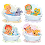 Clip art illustrations of little kids and their dogs. Set of vector clip art illustrations of little kids take a bath together with his dogs Royalty Free Stock Photos
