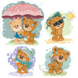 Clip art illustrations of teddy bear and different seasons. Set of vector clip art illustrations of teddy bear and different seasons Royalty Free Stock Images