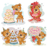 Clip art illustrations of teddy bear wishes you a happy birthday. Set of vector clip art illustrations of teddy bear wishes you a happy birthday Stock Image