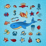 Clip art with marine life. Clip art. Shells, fish, starfish, skates, octopus, jellyfish, crabs and other deep-sea animals of the sea and ocean. Beautiful marine Royalty Free Stock Photography