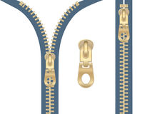 Clip-art of metal zipper. Clip-art of silver zipper zipped and unzipped Stock Photo