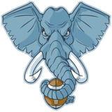 Clip art principal de la historieta del vector del fútbol de la mascota del elefante que se sostiene Imagenes de archivo