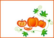 Clip art with pumpkins Royalty Free Stock Photography