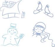 Clip-art réglé : Saison de l'hiver Photographie stock