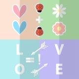 Clip art romántico de la tarjeta del día de San Valentín Clipart de papel de los corazones del amor con la señora Fotos de archivo libres de regalías