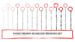 Clip art seamless artistic brushes set. Frame, lines and circles Stock Photography