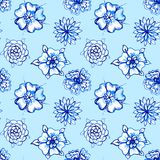 Clip-art Seamless pattern with Watercolor Flowers Royalty Free Stock Photos