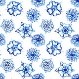 Clip-art Seamless pattern with Watercolor Flowers Royalty Free Stock Images