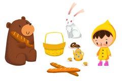 Clip Art Set: Animale, alimento e bambino Fotografie Stock Libere da Diritti
