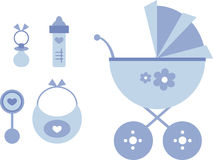 Clip-art Set: Baby (blue) Stock Photo