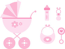 Clip-art Set: Baby (pink) Royalty Free Stock Photography