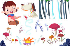 Clip Art Set: Boy, Dog, Campfire and Nature Plants. Stock Image