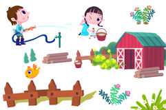 Clip Art Set: Boy and Girl, Bird, Fence, Farm House, Wood, etc. Stock Photos