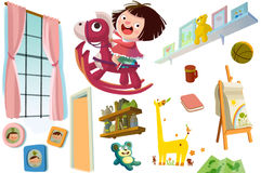 Clip Art Set: Childhood Objects. Stock Photography