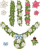 Clip art set of Christmas mistletoe decorative. Clip art set of white Christmas mistletoe decorative garland elements  with white and pink poinsettia Stock Photography