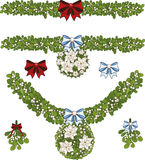 Clip art set of Christmas mistletoe decorative. Clip art set of white Christmas mistletoe decorative garland with white poinsettia elements Royalty Free Stock Photo