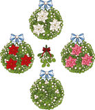 Clip art set of Christmas mistletoe decorative. Clip art set of white Christmas mistletoe decorative glob elements  with red white and pink poinsettia Royalty Free Stock Photography