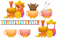 Clip Art Set: The Cup and Candy Train and Little Animals. Stock Image