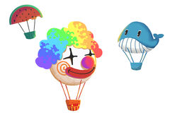 Clip Art Set: Funny Air Balloons Flying  on White Background. Stock Photos