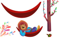 Clip Art Set: Hammock, Tree, Bird, Lion King, Colorful Plants etc. Stock Images