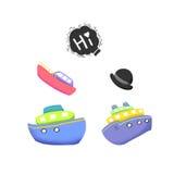 Clip Art Set: Hello Bubble, Ships. Royalty Free Stock Images