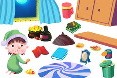 Clip Art Set: The Kid, Food, and Family Kitchen Stuff. Royalty Free Stock Image