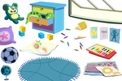 Clip Art Set: The Kid Room Objects: Toys, Football, Book, Color Pencil, Cabinet etc. Royalty Free Stock Photo