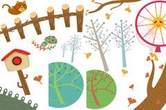 Clip Art Set: Los objetos del país de las maravillas: Gato, buzón de correos, árbol del Ginkgo, Ferris Wheel Fotos de archivo libres de regalías