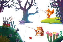 Clip Art Set: Nature Stuff: Forest Plant Tree, Animal Bear Fox, Flower Hill Island etc. Realistic Fantastic Cartoon Style Artwork / Story / Scene / Wallpaper Royalty Free Stock Photo