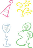 Clip-art Set: New Year / Party. Set of four colorful new year / party illustrations including: Party hat, fireworks, champagne glass, balloons Stock Image
