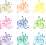 Clip-art Set: Pastel-colored gift packages. Set of nine gift packages in pastel colors Stock Images